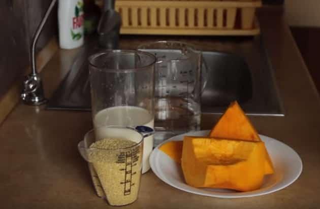 Ингредиенты для каши из тыквы с пшеном