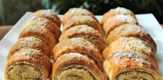 Печенье рулетики с ореховой начинкой
