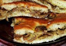 Шарлотка с капустой на кефире с грибами - заливной капустный пирог