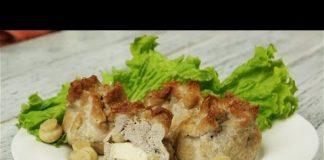 Мешочки свинины с сыром и грибами