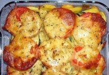 Кабачки с чесночком, помидорами и сыром